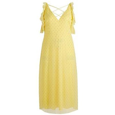 Little Mistress Curve Cold Shoulder Lurex Midaxi Dress - Lemon