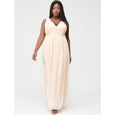 Little Mistress Curve Applique Sleeveless Mesh Maxi Dress - Nude