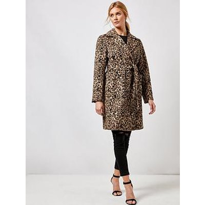 Dorothy Perkins Dorothy Perkins Animal Patch Pocket Wrap Coat - Multi