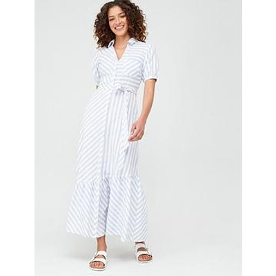 V By Very Asymmetrical Hem Maxi Dress - Stripe