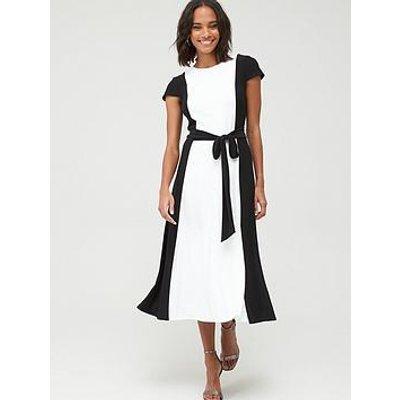 Lauren By Ralph Lauren Murila Cap Sleeve Day Dress - Black/White