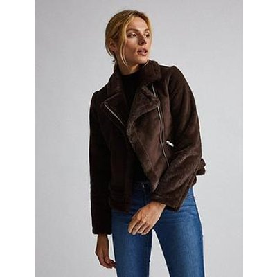 Dorothy Perkins Faux Fur Sleeve Biker Jacket - Brown