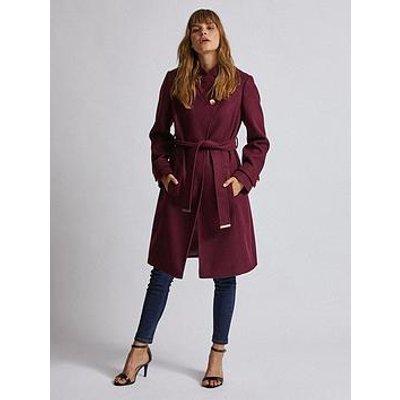 Dorothy Perkins Wrap Coat - Burgundy