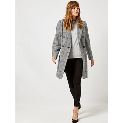 Dorothy Perkins Dorothy Perkins Check Double Breasted Coat - Monochrome