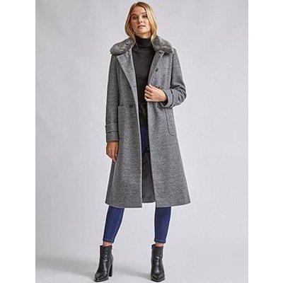 Dorothy Perkins Dolly Faux Fur Collar Detail Coat - Grey