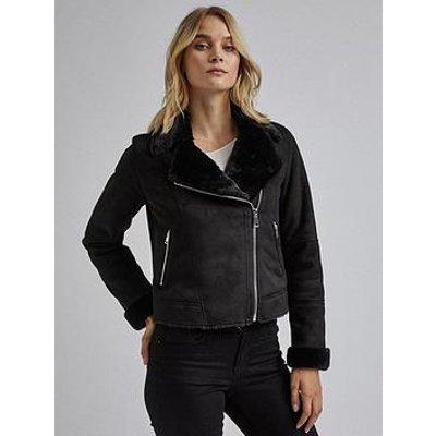 Dorothy Perkins Dorothy Perkins Faux Shearling Biker Jacket - Black