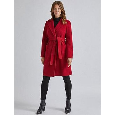 Dorothy Perkins Dorothy Perkins Patch Pocket Wrap Coat - Red