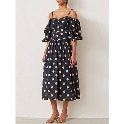 Bec & Bridge Josephine Polka Dot Cold Shoulder Puff Sleeve Midi Dress - Black