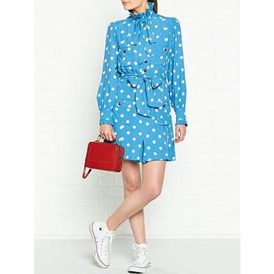 Marc Jacobs Polka Dot Heart Button Dress - Blue
