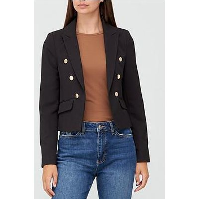 V By Very Cropped Double Breasted Button Detail Blazer - Black