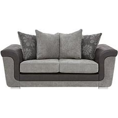 Vidal Fabric And Faux Snakeskin 2 Seater Scatter Back Sofa