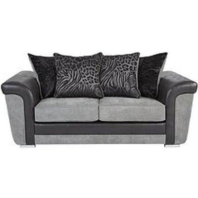 Manhattan Fabric And Faux Snakeskin Scatter Back 2 Seater Sofa
