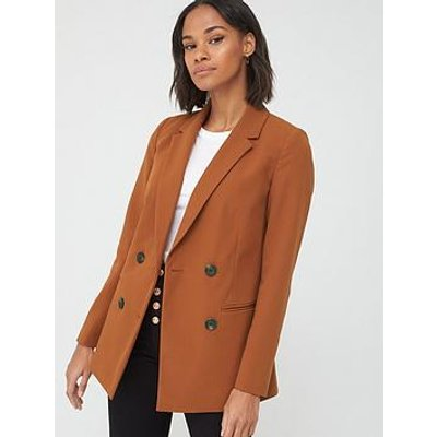 V By Very Longline Double Breasted Blazer - Rust