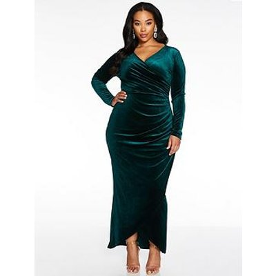 Quiz Curve Velvet Ruched Side Wrap Maxi Dress - Bottle Green