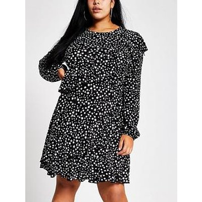 Ri Plus Ri Plus Ditsy Print Frill Tea Dress- Black