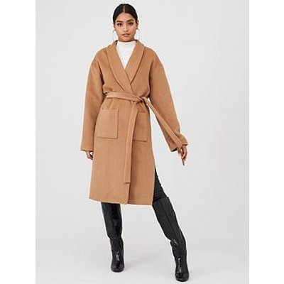 In The Style In The Style X Laura Jade Wrap Longline Tie Waist Trench Coat - Camel