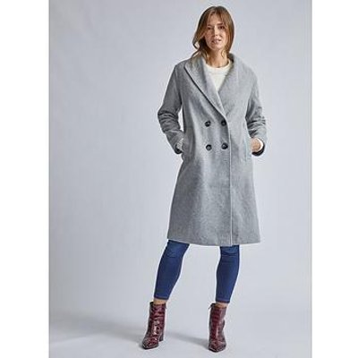 Dorothy Perkins Dorothy Perkins Relaxed Double Breasted Coat - Grey