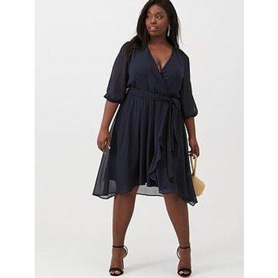 V By Very Curve Chiffon Wrap Midi Dress - Navy
