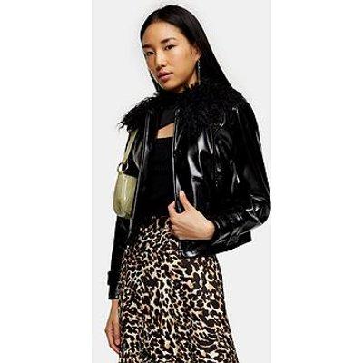 Topshop Vinyl Faux Fur Collar Jacket - Black