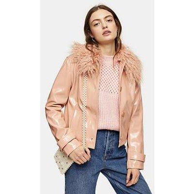 Topshop Vinyl Faux Fur Collar Jacket - Peach