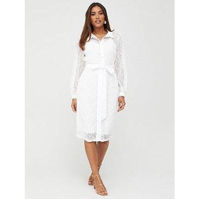 V By Very Lace Shirt Midi Dress - White