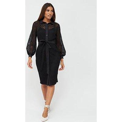 V By Very Lace Shirt Midi Dress - Black