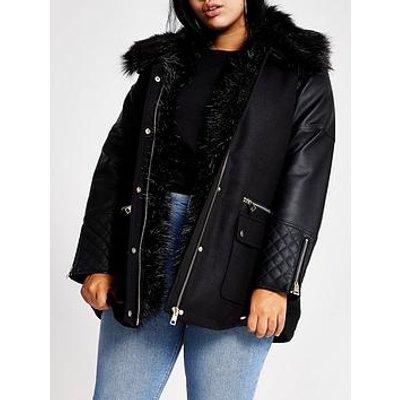 Ri Plus Ri Plus Pu Sleeve Faux Fur Collar Jacket-Black