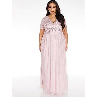 Quiz Curve V Neck Sequin Chiffon Bridesmaid Maxi Dress - Blush