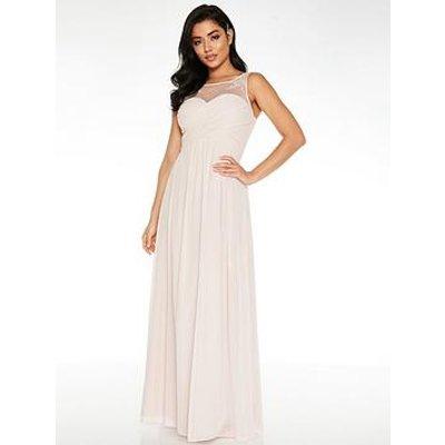 Quiz Chiffon High Neck Embellished Yoke Bridesmaid Maxi Dress - Pink