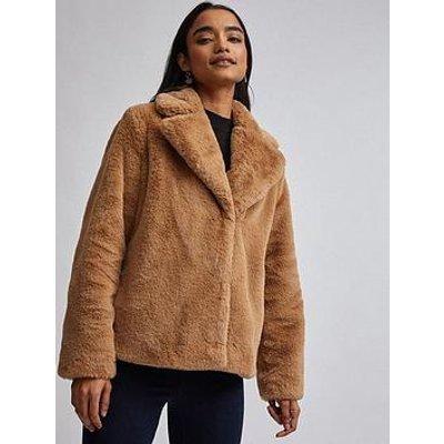 Dorothy Perkins Dorothy Perkins Petite Champage Faux Fur Jacket - Brown