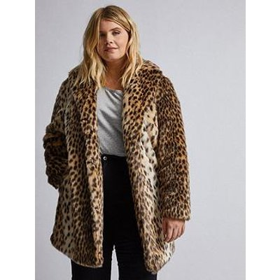 Dorothy Perkins Dorothy Perkins Curve Animal Print Fur Coat