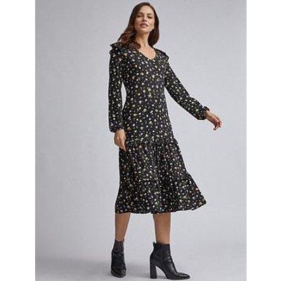 Dorothy Perkins Ditsy Ruffle Midi Dress - Black
