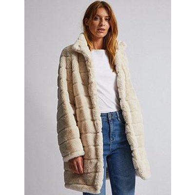 Dorothy Perkins Dorothy Perkins Cream Pelted Faux Fur Coat - Cream