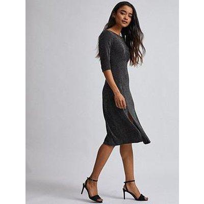 Dorothy Perkins Petite Lurex Midi Dress - Black
