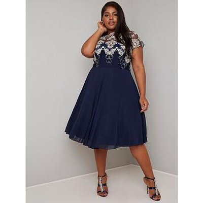 Chi Chi London Curve Riara Dress - Navy