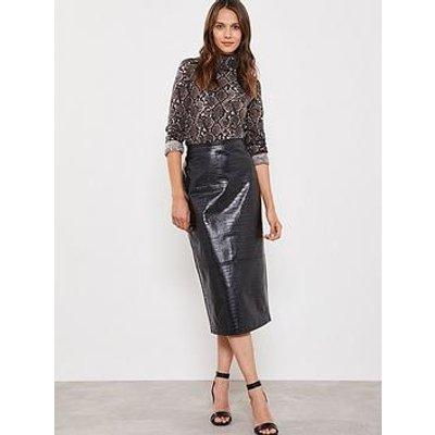 Mint Velvet Textured Pu Pencil Skirt