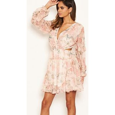 Ax Paris Floral Chiffon Side Cut Dress - Pink