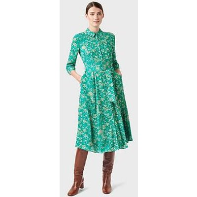 Hobbs Printed Shirt Dress - Green/Multi