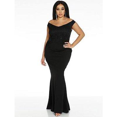 Quiz Curve Half Sequin Lace Half Scuba Crepe Bardot Bridesmaid Maxi Dress - Black