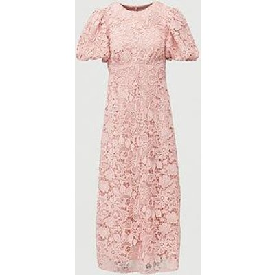 V By Very Lace Puff Sleeve Midaxi Dress - Blush