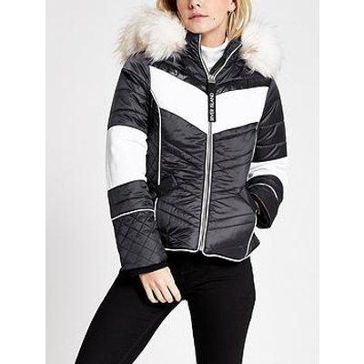 Ri Petite Ri Petite Faux Fur Hood Trim Padded Jacket- Navy