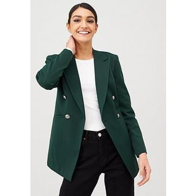 V By Very Longline Military Jacket - Forest Green