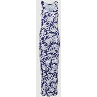 V By Very Petite V Neck Jersey Maxi Dress - Navy Print