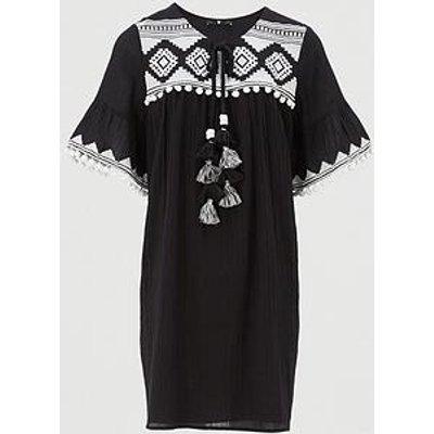 V By Very Curve Embroidered Tassel Dress - Black/White