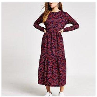 Ri Petite Floral Midi Dress-Red