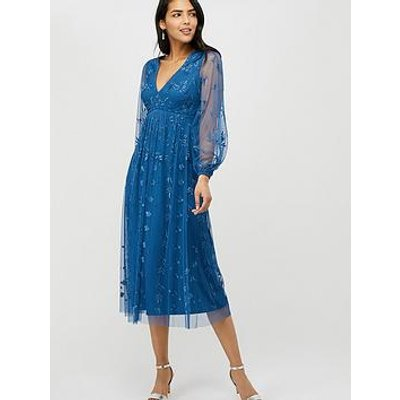 Monsoon Lucinda Recycled Polyester Embroidered Mid Dress - Blue