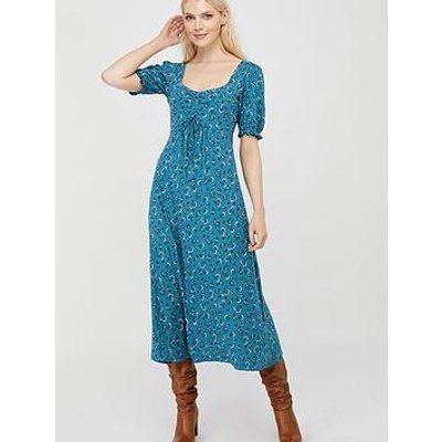 Monsoon Dua Ditsy Print Organic Cotton Tea Dress - Teal