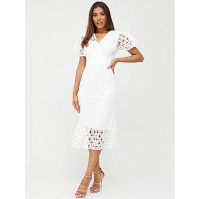 V By Very Fluted Hem Lace Midi Dress - White