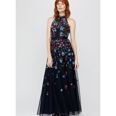 Monsoon Anna Floral Embellished Maxi Dress - Navy