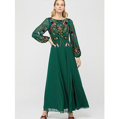 Monsoon Florence Embroidered Maxi Dress - Green